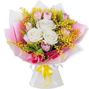 Букет из 15 тюльпанов +30% цветов с доставкой в Брянске