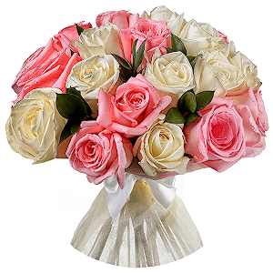 Букет из 23 белых и розовых роз