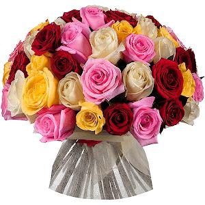 Букет из 51 разноцветных роз